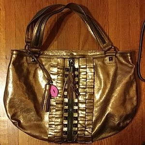 Betsey Johnson Bronze Metallic Tote Bag